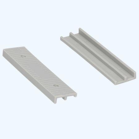 100 stuks schuine kunststof glasblokjes GRIJS 100x24x8/4 mm