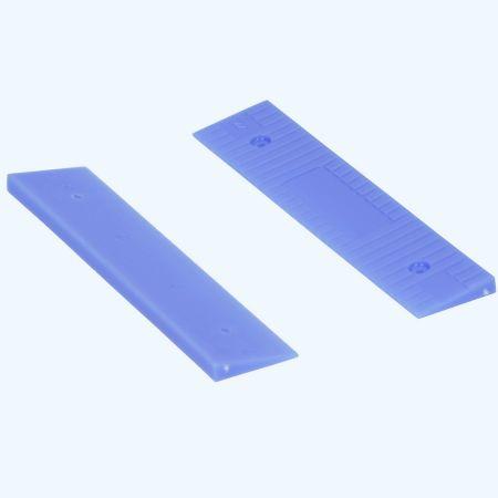 100 stuks schuine kunststof glasblokjes BLAUW 100x22x5/1 mm