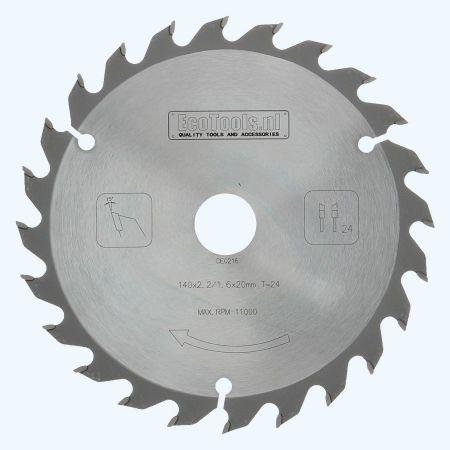 hardmetalen zaagblad 140 x 20 mm 24 wisseltanden
