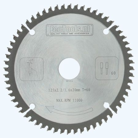 zaagblad trespa / aluminium 125 x 20 en 60 vlakdaktanden