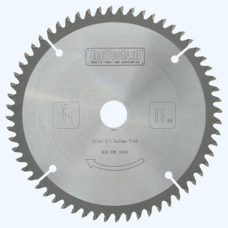 HM-zaagblad 165 x 20 mm T=60 (vlak-daktand)
