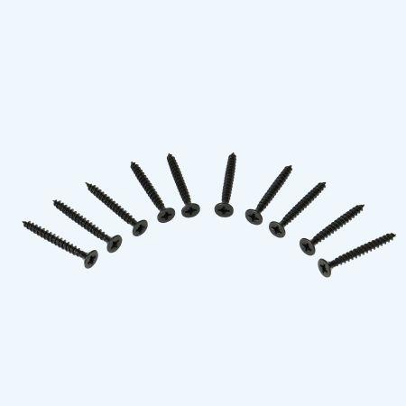10 stuks zwarte schroeven voor scharnieren RVS, Pozidrive 4,5 x 40 mm