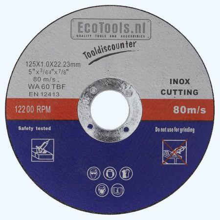 Doorslijpschijf voor INOX 125 x 1,0 x 22,23 mm (EcoTools)