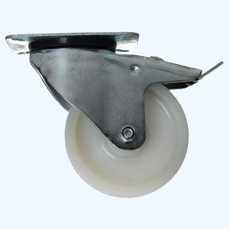 Nylon zwenkwiel met rem 100 mm 120 kg