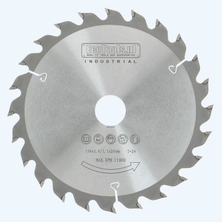 HM zaagblad 136 x 20 mm T24 (1,1 / 1,6mm) Industrieel