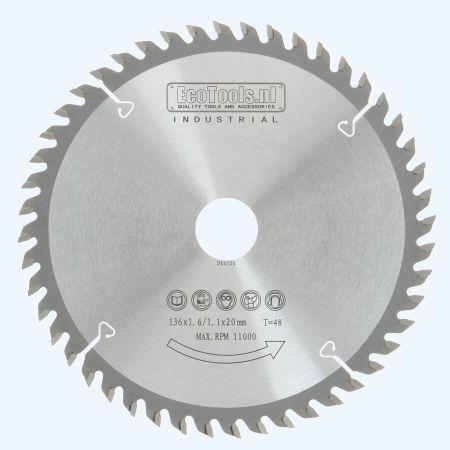 HM zaagblad 136 x 20 mm T48 (1,1 / 1,6mm) Industrieel