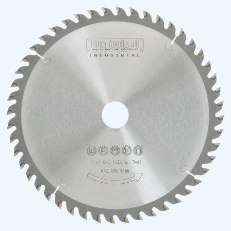 Hardmetalen zaagblad 165 x 20 mm met 48 tanden;  Industrieel