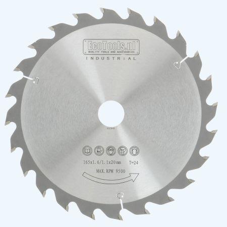 HM zaagblad 165 x 20 mm T24 (1,1 / 1,6mm) Industrieel