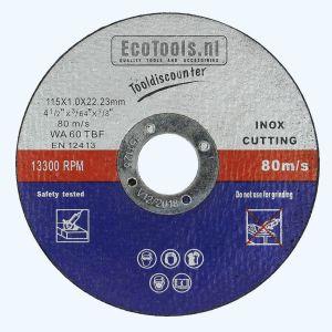Doorslijpschijf voor INOX 115 x 1,0 x 22,23 mm (EcoTools)