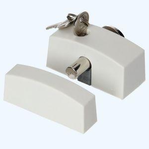 Oplegslot smal met cilinderslot binnendraaiend (wit)